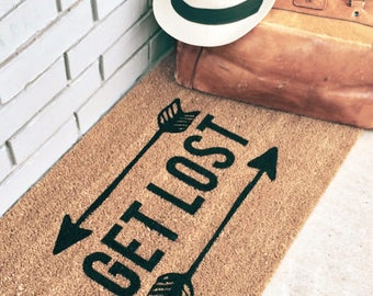GET LOST. Natural CoCo Coir Fiber Modern Tagged Outdoor Welcome Mat Custom doormat