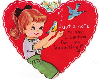 Vintage Little Girl and Song Bird Valentine's Day Greetings Card (B17)