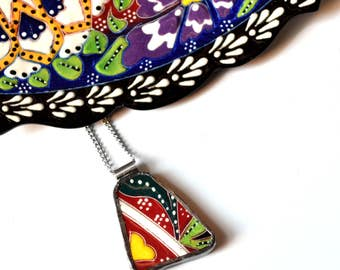 Broken China Jewelry Pendant - Colorful Turkish China