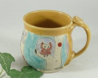 Coffee Mug, Handmade Ceramics and Pottery Mug, Hand carved ceramic coffee mug, Owl Mug, ceramic tea cup, stoneware mug,  gift for boss 722
