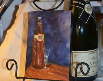 Original Oil Painting Wine Bottle Crystal Glass Still life ART FALL SALE