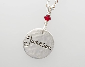 SILVER Charm Tag personalized Name of Your Choice Birthstone - mother daughter necklace - romanza jewelry