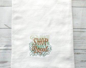 Shop Local Dish Towel - Locavore Kitchen Towel - Small Business Gift - Hippie Kitchen Decor - Vegetable Dish Towel - Veggie Tea Towel -
