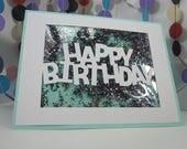 Colorful Glitter Happy Birthday Card - multi-colored loose glitter card - sparkly confetti card - sparkly birthday card - colorful sparkles