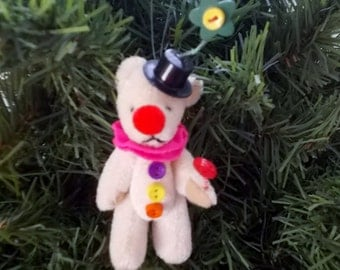 Little Clown Bear with Red Lollipop Christmas Tree Ornament