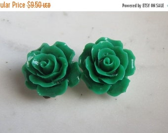 40%SALE Green Rose Clip On Earrings,  Green Roses, Clip on Earrings, Non Pierced Earrings, Under 10, Wedding Jewelry,