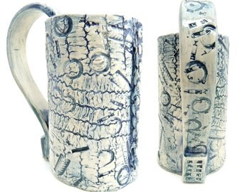 Handbuilt Coffee Cup, Tea Mug, Slab Built, OOAK Cup, Blue and White, Typography Geek, Heavily Textured Everything Mug