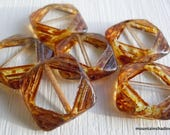 15mm Square Table Cut Crystal Picasso Beads - 6 Czech Picasso Beads  Czech Glass Beads (G - 378)