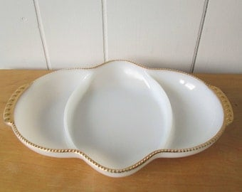 vintage Fire King milk glass gold relish tray