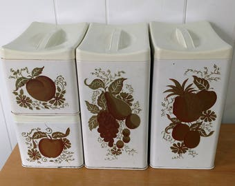 vintage Ransburg gold fruit canister set