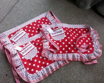 Aprons - Red Aprons - Womens Half Aprons - I Love Lucy Aprons - Red and White Dot Aprons - Annies Attic Aprons - Etsy Aprons -
