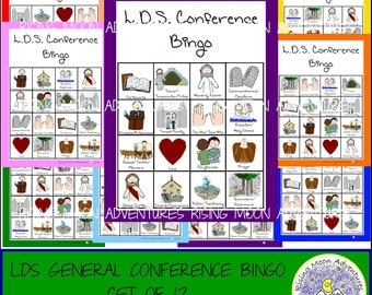 LDS General Conference Bingo Game Set of 12