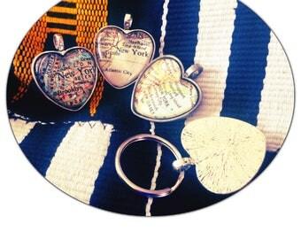 New York City Map Heart Pendant - NYC Map Jewelry - East Coast Keychain Glass Pendant -CHARM ONLY New Jersey - Bronx Brooklyn Trenton