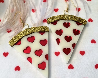 White Pizza with hearts Valentines Laser Cut Acrylic Earrings