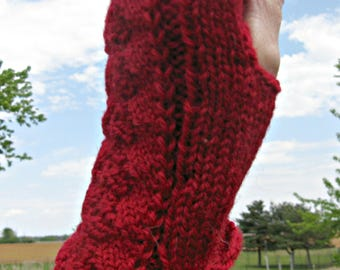 Red Hand Knit Fingerless and Texting Gloves