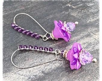 Dangle Earrings, gift for her, purple earrings, flower earrings, earring dangles, earrings for women, jewelry gift by pinkicejewels