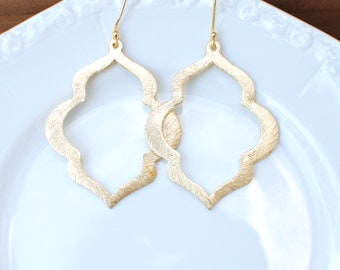 Large Brushed Gold Earrings. Gold Plate Ear Wires.