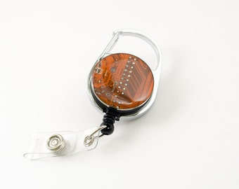 Orange Recycled Circuit Board Retractable Badge Holder - Badge Reel - Geeky Office Gift - Engineer Gift