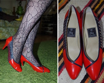 She's in PARTIES 1980's Vintage Bright Red + Black Striped Cutout Leather Designer Heels // by Oleg Cas // size 7.5 // Made in ITALY