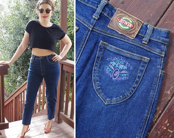 Deep BLUE 1980's 90's Vintage High Waist Skinny Jeans with Tapered Ankles // waist 29 30 Medium // by JETWIN