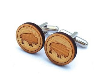Bison Cufflinks. Buffalo Cufflinks. Wood Cufflinks. Wild West. Groomsmen Gift. Groom Gift. Gift For Men. Mens Gift. Gifts For Dad. Cowboy.