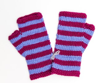 Striped Magenta and Purple Fingerless Mitts, Hand Knitted Wool Fingerless Gloves, Knitwear, Fall and Winter Fashion