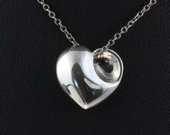 Vintage! Tiffany & Co Sterling Silver Puff Heart Pendant and Chain