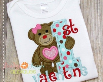 1st Valentine Bear Girl Applique Design 4x4, 5x7, 6x10, 8x8