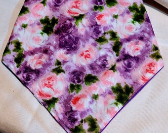 Roses Bandana Colorful Cotton fleece lined face & head protection scarf, dog scarf