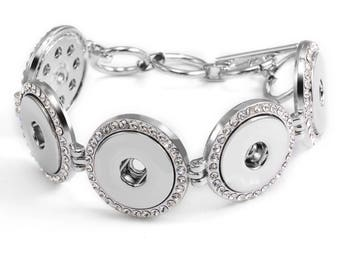 Silver Toned Bracelet for 5-18mm Snap Charms
