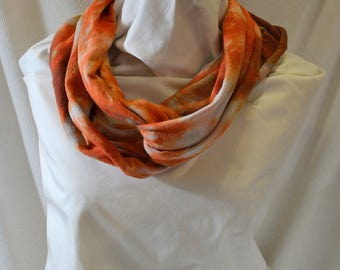 Hand Dyed Hemp Knit Infinity Scarf - Bright Colors that will Express Your Creativity, Soft Knit Fabric, Bronze and Rust
