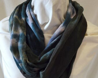 Hand Dyed Hemp Knit Infinity Scarf - Intense Colors that will Express Your Creativity, Soft Knit Fabric, Charcoal, Dark Green and Blue