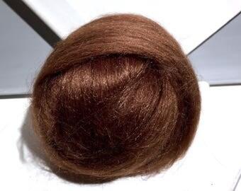 Brown Alpaca Silk Roving, Brown spinning, felting fibers, roving, chocolate brown roving, nuno, wet felting needle felting