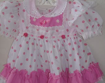 Girls' Pink and White Polka Dot Party Dress, Size 12 M