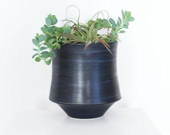Large Modern Planter with Drain Hole and Catch Basin Pedestal, 2 Piece Contemporary Ceramic Planter, Contemporary Pottery Planter Blue Black