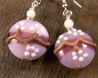 Purple, pink, brown and white flower lamp work glass, shell beads and silver handmade earrings