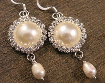 Ivory freshwater pearls, diamonds and silver handmade earrings