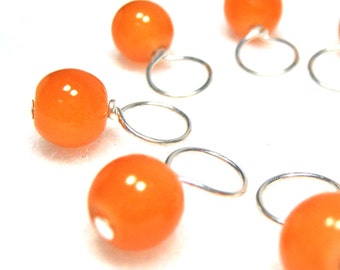 Juicy Tangerine Stitch Marker Drops for Knitting or Crochet (Choose Your Size - Set of 8)