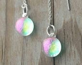 Lime Green & Bright Pink Dichroic Glass Sterling Silver Ear Thread  Earrings