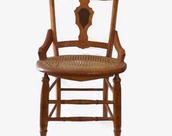 Caned Side Chair, Victorian Seating with Ornate Inlaid Wood Back