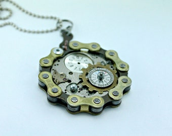 Industrial Steampunk Bike Chain and Watch Part Necklace on 18 Inch Recycled Chain