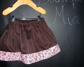 Sample SALE - Will fit Size 12 month to 2T - Ready to MAIL - SKIRT - Brown and Pink flowers - by Boutique Mia