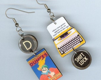 Book Cover Earrings - A Confederacy of Dunces Quote - typewriter jewelry - readers librarian book club students teachers gift - Pulitzer
