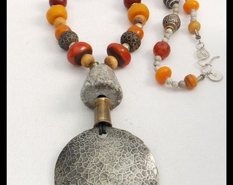 MESMERIZED - Handforged Pendant - Ancient Spindle Whorl - Mixed Handmade African & Tibetan Beads Long Necklace
