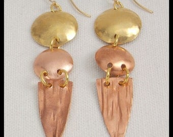 ICE - Handforged Long Copper & Bronze 3 Section Statement Earrings