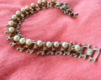 BRACELET Vintage Mixed Color Metals Faux Pearl Deco Links  2 Tone Costume 60s