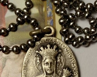 SALE TODAY Black Madonna Czestochowa Silver Religious Medal Necklace Long Steel Chain Our Lady of
