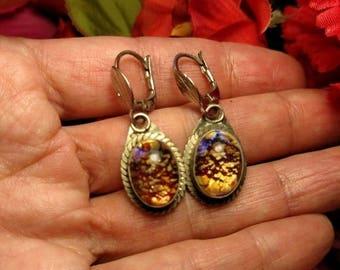 Vintage Boho Glass Jewel Opal Multi Color Silver Drop Earrings Pierced Costume Similar To Dragons Breath