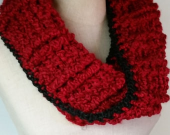Matching red infinity scarf and fingerless gloves