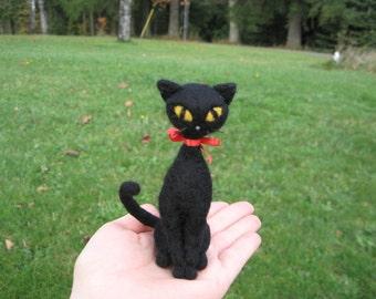 Felted Cat Le Chat Noir Black Cat Figure  Needle Felted